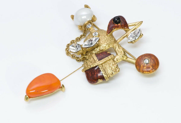 Christian Lacroix Orange Glass Enamel Crystal Brooch