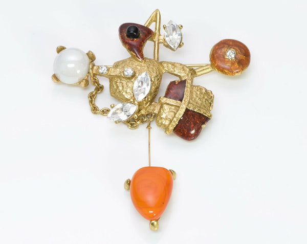 Christian Lacroix Paris Orange Glass Enamel Crystal Brooch