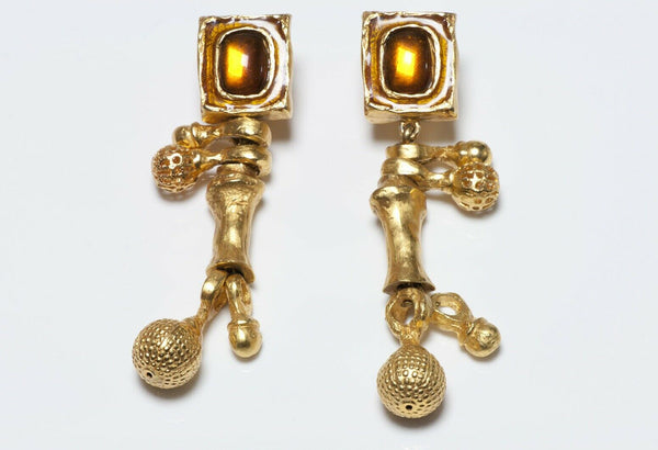 Christian Lacroix Paris Long Glass Ball Drop Earrings