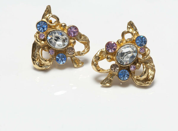 Christian Lacroix Paris Pink Blue Yellow Crystal Heart Earrings
