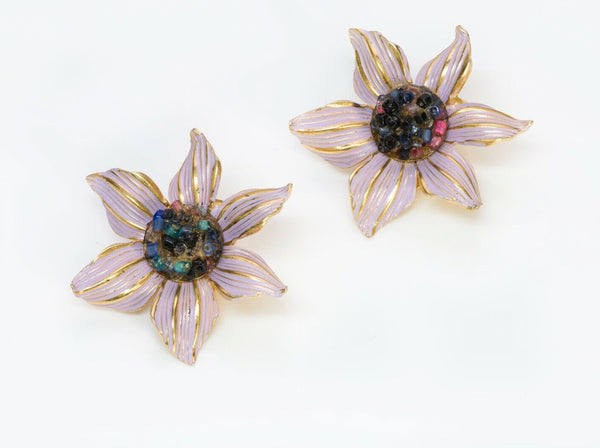 Christian DIOR Henkel Grosse Enamel Beads Flower Earrings