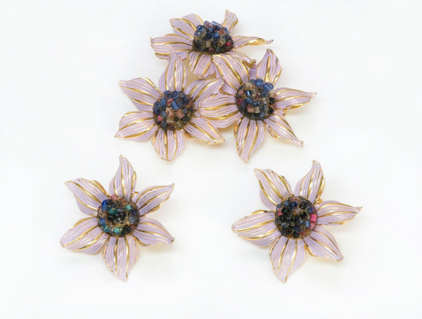 Christian DIOR 1966-1967 Henkel & Grosse Enamel Beads Flower Brooch Earrings