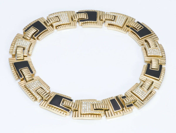 Christian DIOR Crystal Enamel Geometric Collar Necklace