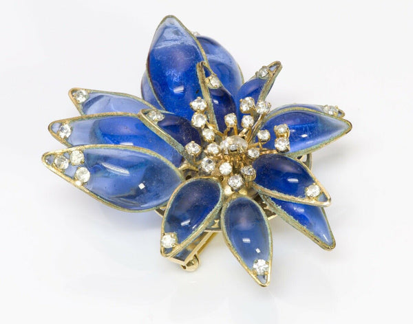 Christian DIOR 1940's by Maison Gripoix Glass Flower Brooch