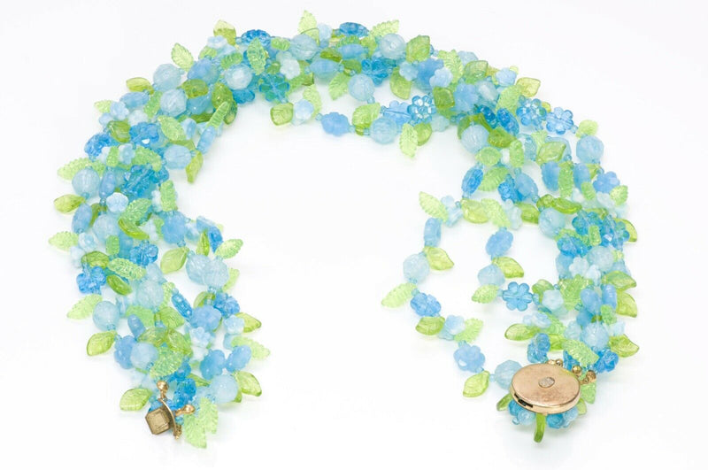 Christian DIOR Henkel Grosse Blue Green Beads Necklace