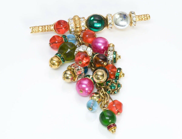 Christian Dior Boutique Gripoix Glass Beads Brooch