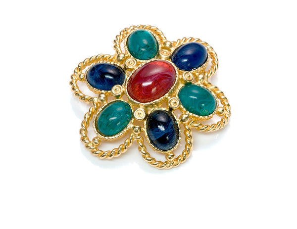 Christian Dior Cabochon Glass Brooch