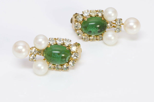 Christian Dior Henkel & Grosse Green Glass Pearl Earrings