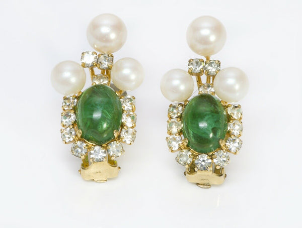 Christian Dior Henkel Grosse Glass Pearl Earrings