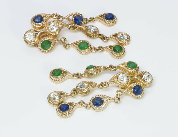 Christian Dior Henkel & Grosse Blue Green Crystal Long Earrings