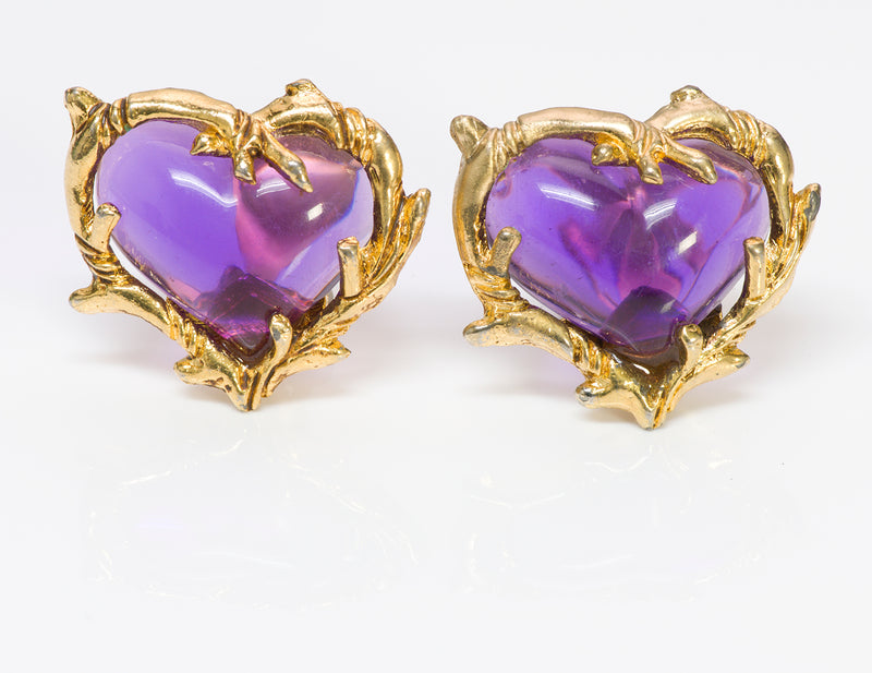 Christian Lacroix Couture Purple Heart Glass Earrings