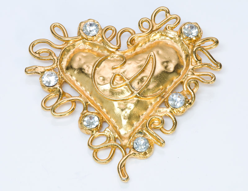 Christian Lacroix Couture Crystal Heart Brooch