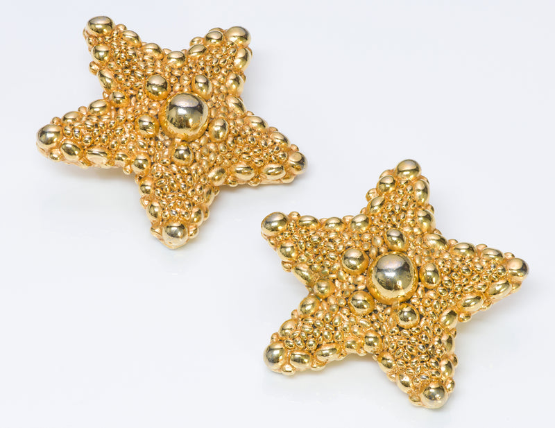Christian Lacroix 1980's Gold Tone Starfish Earrings