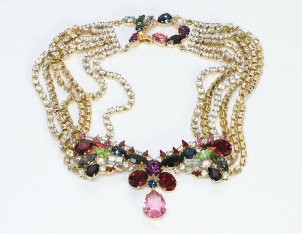 Christian Lacroix Crystal Chain Collar Necklace