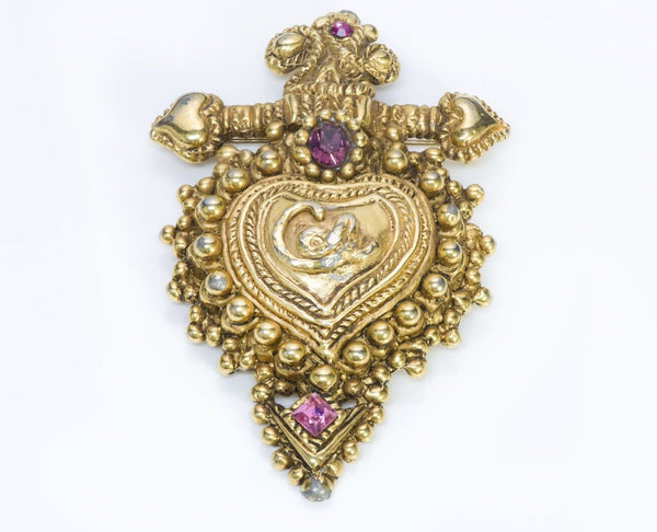 Christian Lacroix Paris Noel 1989 Crystal Heart Brooch