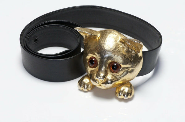 Christopher Ross 1976 24k Cat Buckle Black Leather Belt