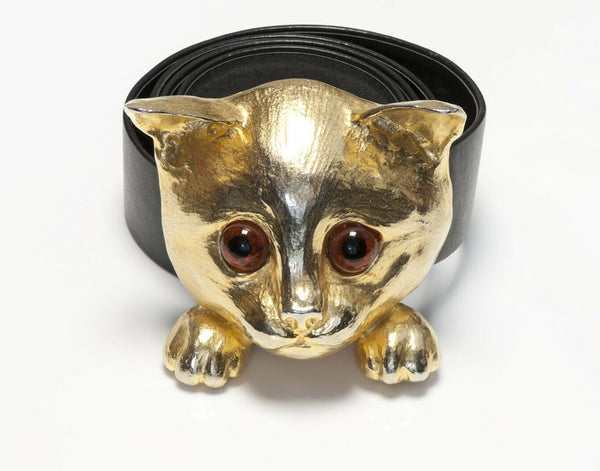 Christopher Ross 1976 24k Gold Plated Cat Buckle Black Leather Belt