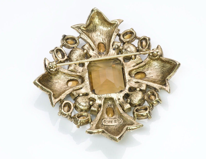 Ciner Cross Crystal Brooch