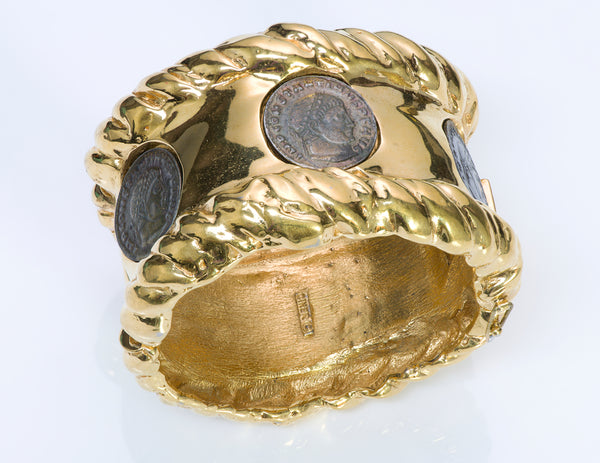 Ciner Wide Gold Tone Coin Bangle Bracelet