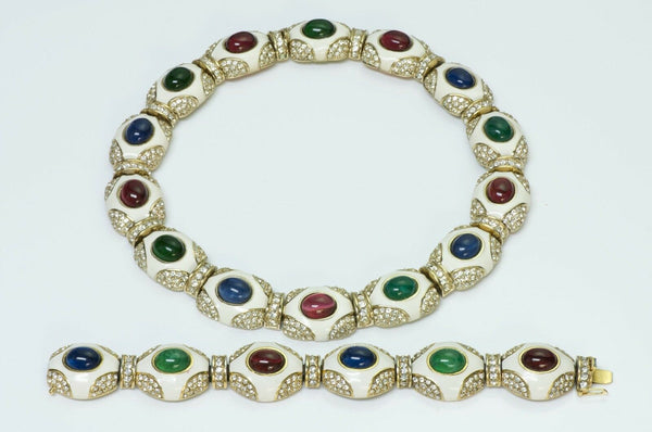 Ciner Enamel Cabochon Crystal Necklace Bracelet