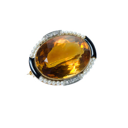 Yellow Gold Citrine Brooch