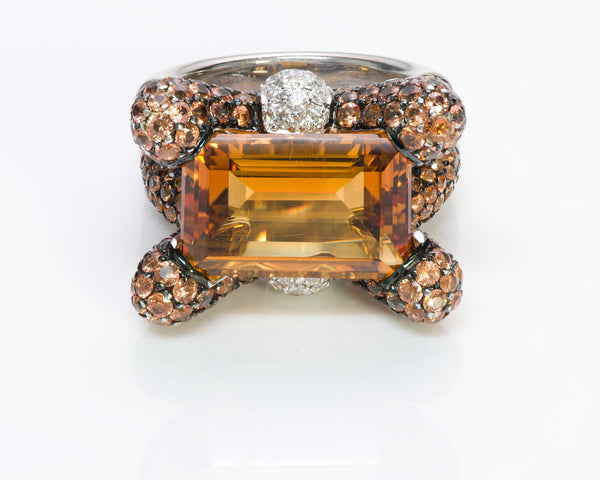 Gemstone Citrine Diamond 18K Gold Ring