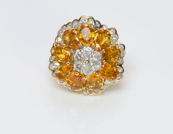 Citrine Diamond 18K Yellow Gold Ring