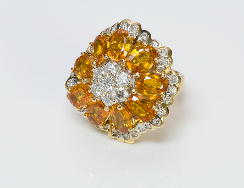 Citrine Diamond 18K Yellow Gold Ring 2