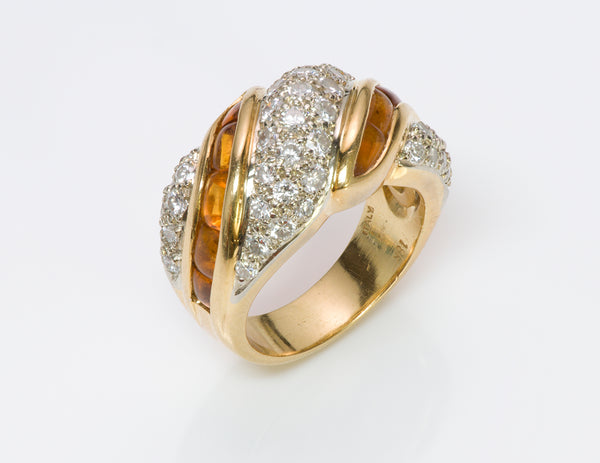 Diamond Citrine 18K Gold Ring