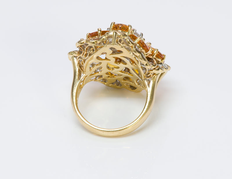 Citrine Diamond 18K Yellow Gold Ring 1