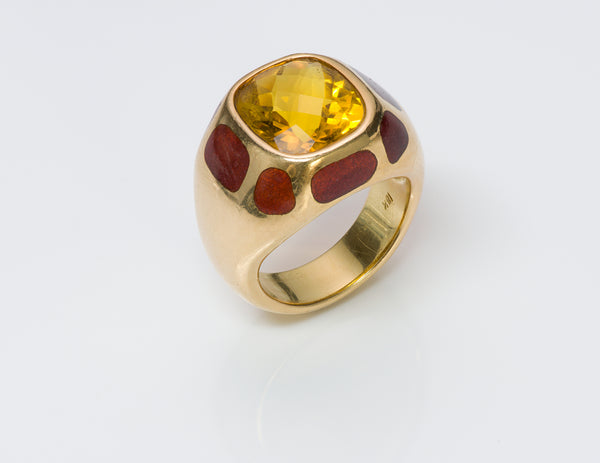 Citrine 18K Gold Enamel Ring