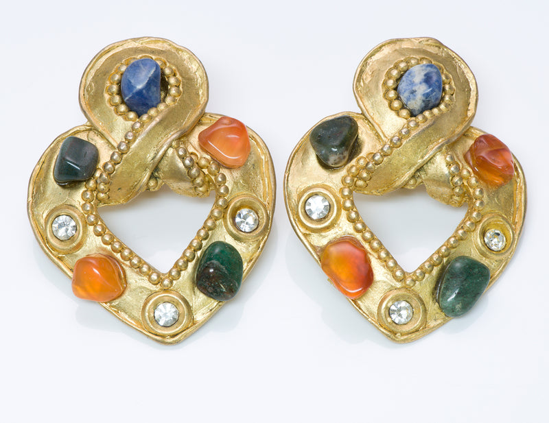 Claire Deve Byzantine Style Glass Stone Earrings