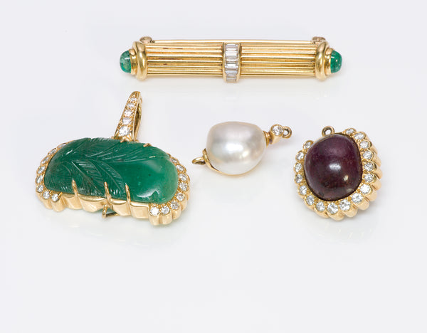 Andrew Clunn Gold Emerald Diamond Pearl Ruby Pendant Brooch