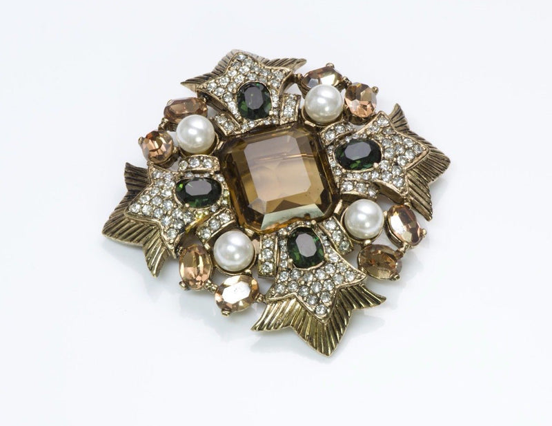 Ciner Maltese Cross Crystal Brooch