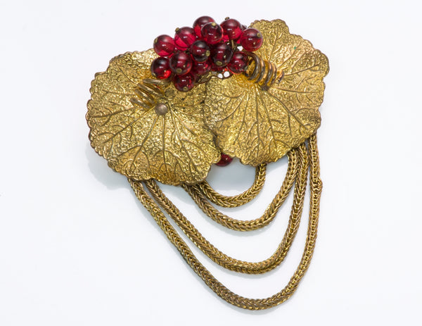 Louis Rousselet 1940's Glass Beads Leaf Brooch