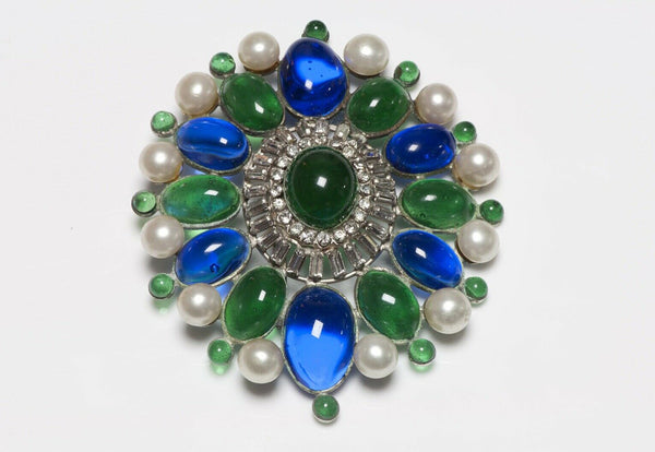 Coco CHANEL Paris 1950's Gripoix Green Glass Pearl Brooch
