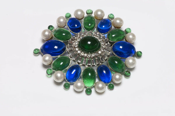 Coco CHANEL Paris 1950's Gripoix Blue Green Glass Pearl Brooch