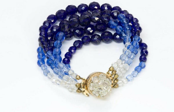 Coppola e Toppo Blue Crystal Multi Strand Beads Bracelet