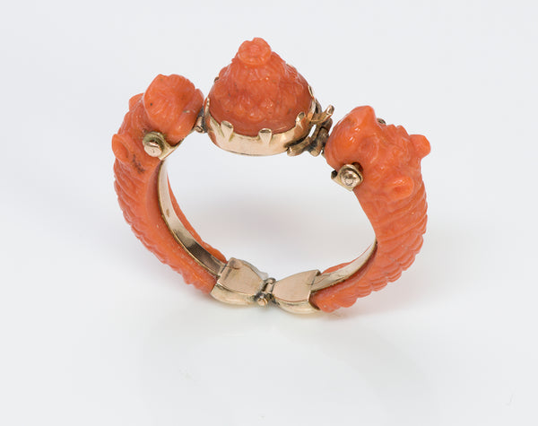 Antique Gold Carved Coral Ring