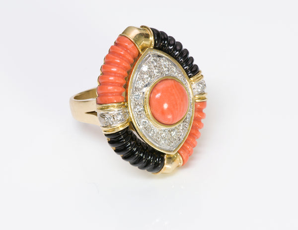 Coral Diamond Onyx 18K Gold Ring