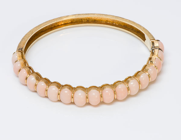 Angel Skin Coral 18 Gold Bangle Bracelet