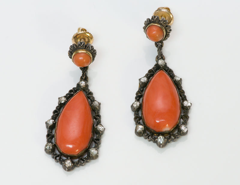 Antique Coral Diamond Earrings
