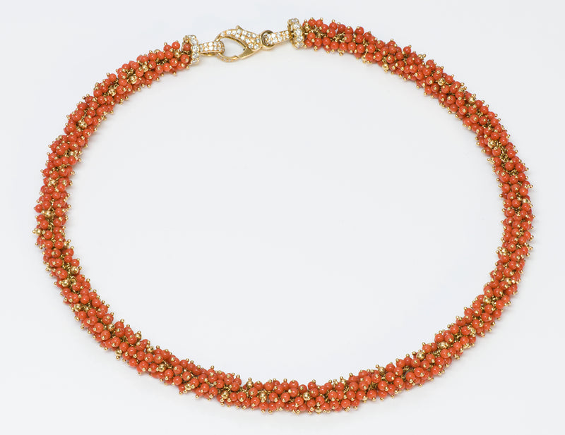 Coral Bead Gold Diamond Necklace