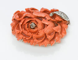 Carved Coral Diamond Flower Brooch