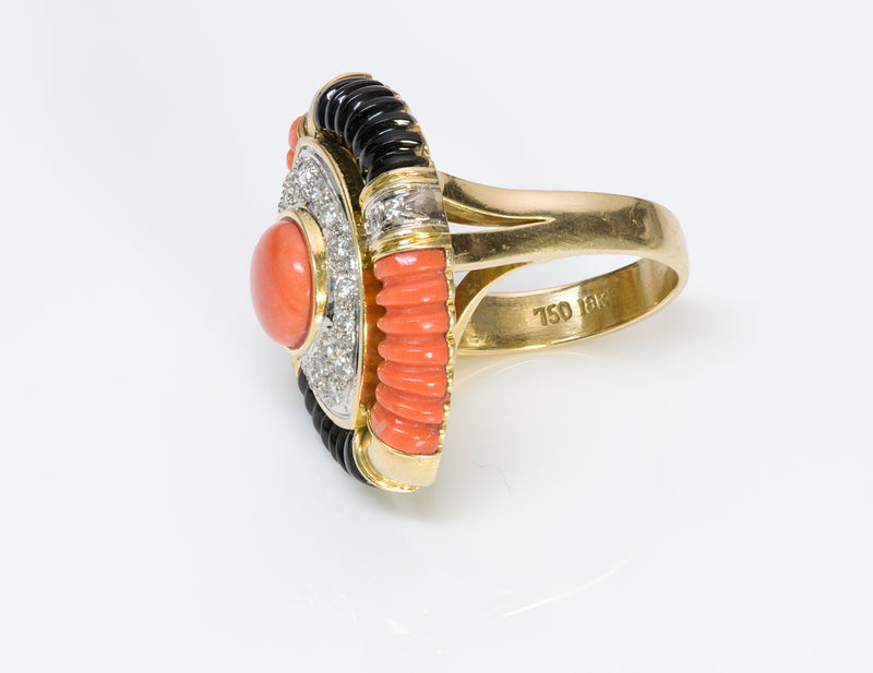 Coral Diamond Onyx 18K Gold Ring-3