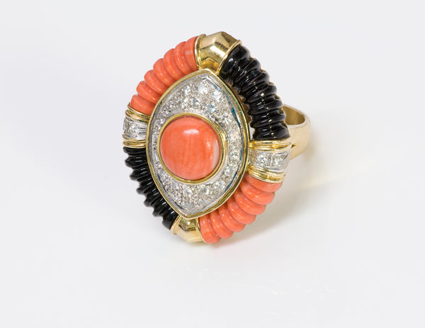Coral Diamond Onyx 18K Gold Ring-1
