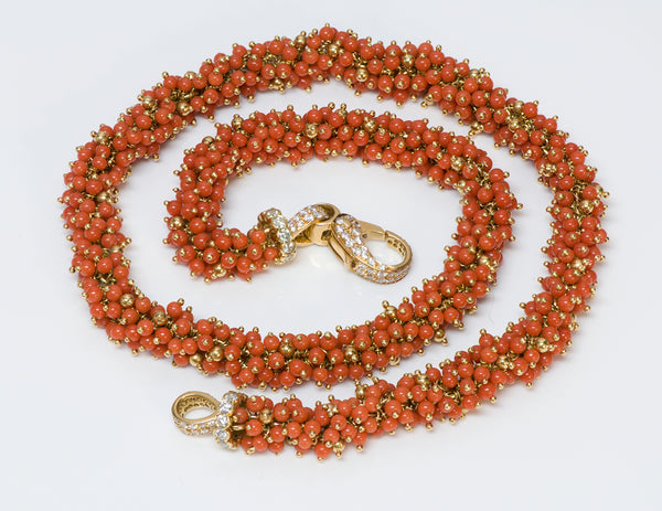 Coral 18K Gold Diamond Necklace