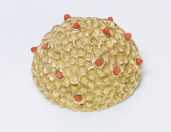 Tiffany 18K Dome Gold Coral Brooch