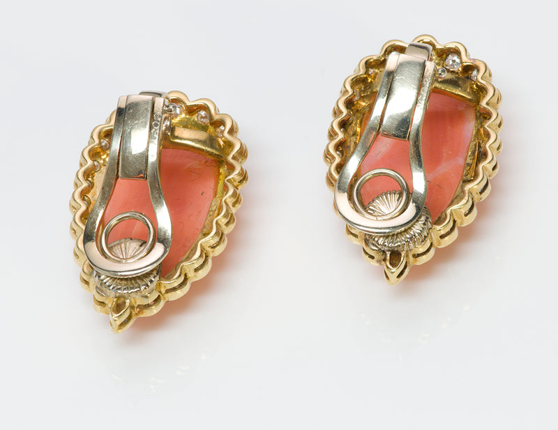 Coral 18K Gold Earrings