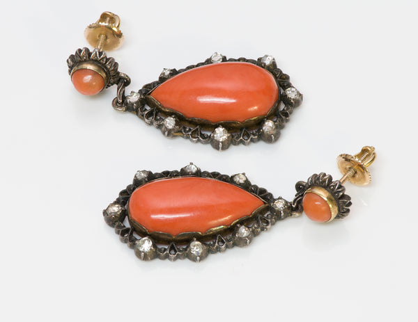 Antique Pear-Shaped Coral Diamond Earrings